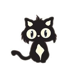 Cute cartoon black cat vector
