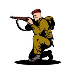 British world war two soldier aiming rifle vector