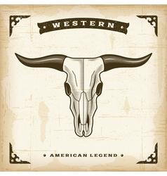Vintage western bull skull vector