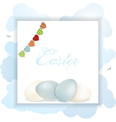 Easter panel with eggs and bunting vector