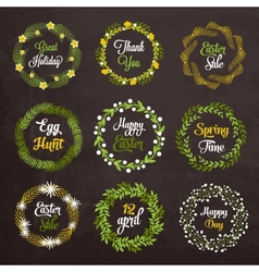Easter wreaths with plants and flowers on vector