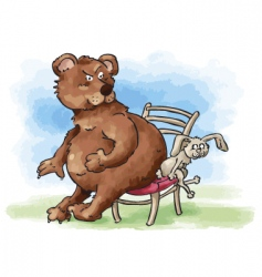 Bear and rabbit sharing chair vector