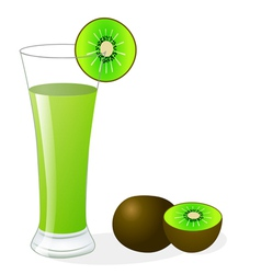 Fruit kiwi and glass of juice vector