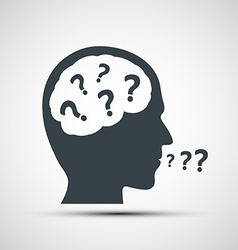 Icon of human head with question marks vector