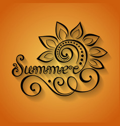 Name of season of the year summer inscription vector