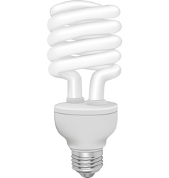 Energy saving fluorescent light bulb on white vector