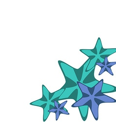 Decorative frame with starfishes vector