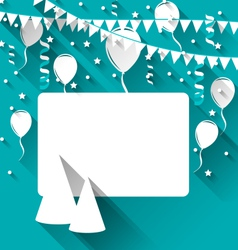 Celebration card with party hats balloons confetti vector