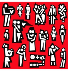 Man and woman  love  married - icons vector
