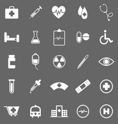 Medical icons on gray background vector