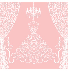 Dress curtains and chandelier vector