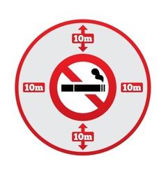 No smoking 10m distance sign stop smoking vector