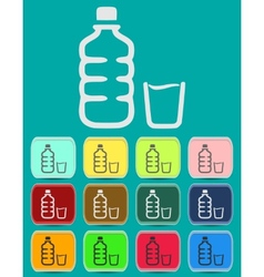 Set of isolated water bottle and amp vector