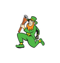 Leprechaun plumber wrench running retro vector