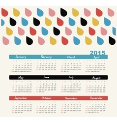 Calendar 2015 year with colored drops vector