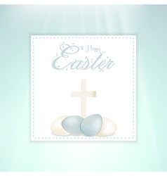 Easter speckled eggs and cross on panel vector