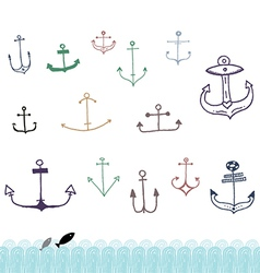 Ship anchor doodles vector