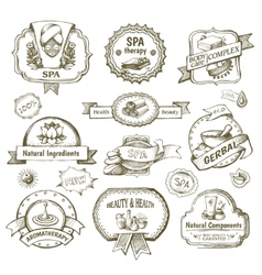 Spa salon label set vector