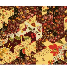 Patchwork pattern with flowers vector