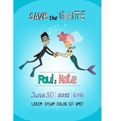 Save the date underwater themed card vector