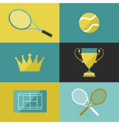 Tennis icon set in flat design style vector