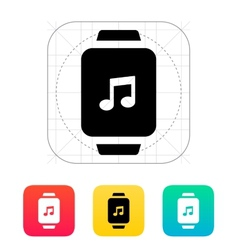 Music on smart watch icon vector