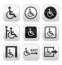 Man on wheelchair disabled emergency exit button vector