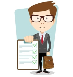 Successful young businessman with the document vector