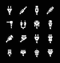 Set icons of plugs and connectors vector