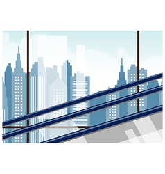 Skyscraper escalator view vector