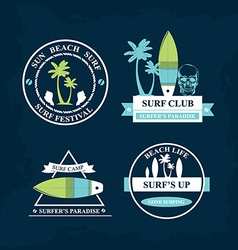 Surfing summer icons labels collection vector