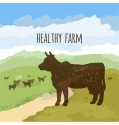 Cow on the meadow vector