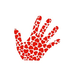 Hand with red hearts vector