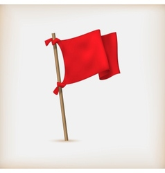 Realistic red flag icon vector