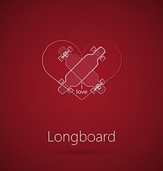 Abstract of love to longboard vector
