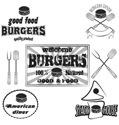 Burgers house poster on chalkboard and set logos vector