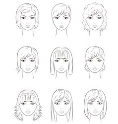 Women s faces vector
