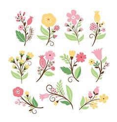 Set of cute flowers vector