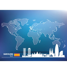 Map pin with barcelona skyline vector
