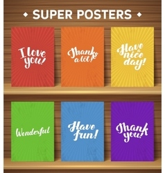 Calligraphic motivate poster set vector
