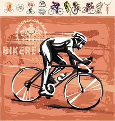 Set of bicycling design elements vector