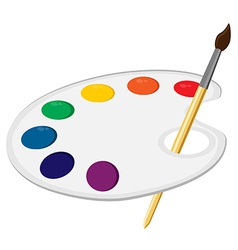 Art palette with paintbrush vector