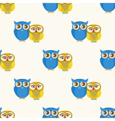 Cute seamless pattern with owls couple vector