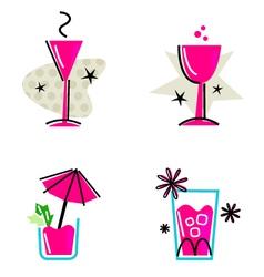 Pink retro drinks vector