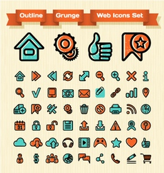 Outline grunge web icons set vector