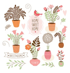 Sweet home set of cartoon floral elements vector