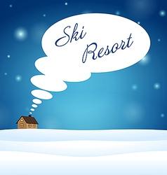Alone house on snow think about ski resort vector
