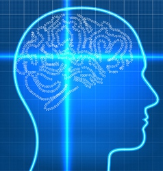 Digital artificial brain on scan over blueprint pa vector