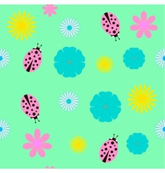 Background with flowers and ladybird vector