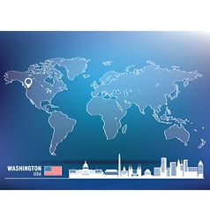 Map pin with washington skyline vector